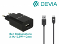 KIT CARICA BATTERIA 2,1A e CAVO m-USB Android BK